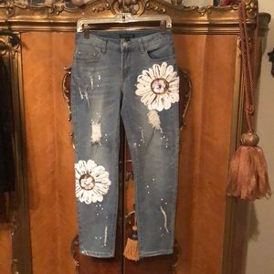 Juliette Sequin-Embellished, Faded, Ripped Jeans